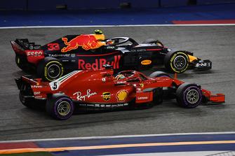 Sebastian Vettel, Ferrari SF71H and Max Verstappen, Red Bull Racing RB14 batttle