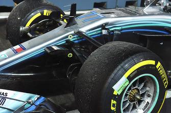 Car of Valtteri Bottas, Mercedes AMG F1 W09 EQ Power+ tyres in parc ferme