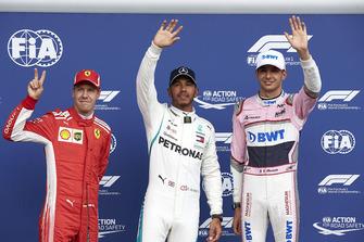 Sebastian Vettel, Ferrari Lewis Hamilton, Mercedes AMG F1, en Esteban Ocon, Racing Point Force India