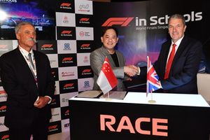 Chase Carey, Chief Executive Officer and Executive Chairman of the Formula One Group and Andrew Denford, F1 in Schools