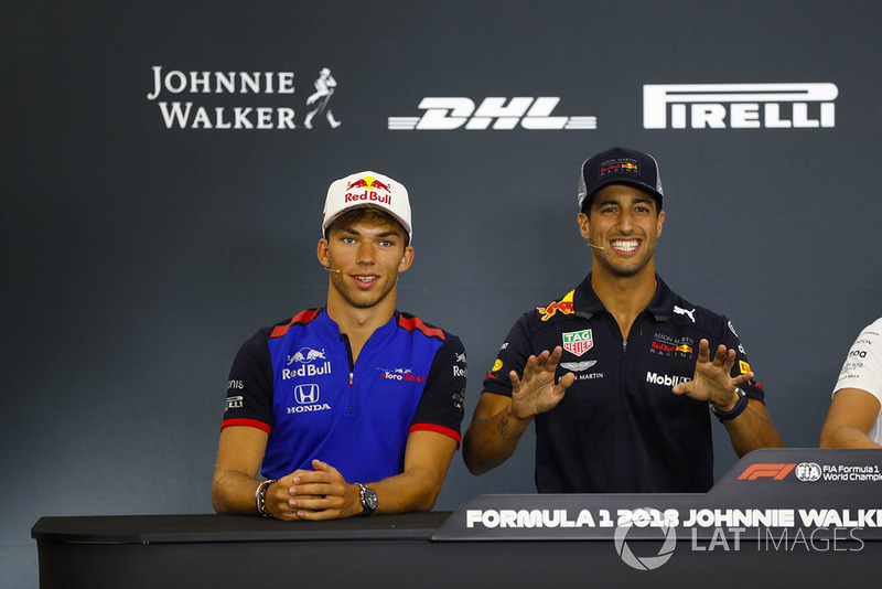 Pierre Gasly, Toro Rosso, and Daniel Ricciardo, Red Bull Racing, joke in the Thursday press conference