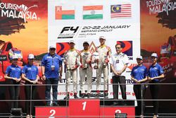 Podium: race winner Akash Gowda, second place Khalid Al-Wahaibi, third place Isyraf Danish