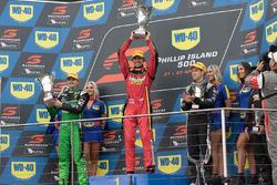 Podium: race winner Chaz Mostert, Rod Nash Racing Ford, second place Mark Winterbottom, Prodrive Rac