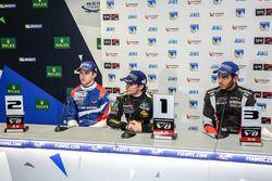 Second place Egor Orudzhev, AVF, race winner Pietro Fittipaldi, Lotus, third place Roy Nissany, RP M