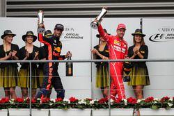 Podium: second place Sebastian Vettel, Ferrari, third place Daniel Ricciardo, Red Bull Racing