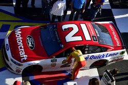 Race winner Ryan Blaney, Wood Brothers Racing Ford is congratulated by Joey Logano, Team Penske Ford