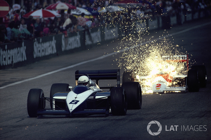 Brabham driver Andrea de Cesaris closely followed by Stefan Johansson, McLaren