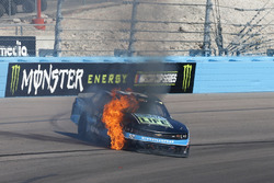 Joey Gase, Jimmy Means Racing Chevrolet on fire