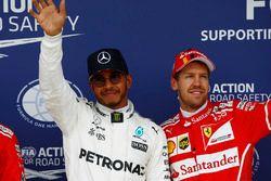Обладатель поула Льюис Хэмилтон, Mercedes AMG F1, третье место – Себастьян Феттель, Ferrari