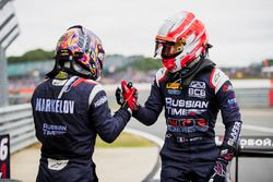 Second place Luca Ghiotto, RUSSIAN TIME, third place Artem Markelov, RUSSIAN TIME