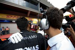 Race winner Lewis Hamilton, Mercedes AMG F1, celebrates, his team in Parc Ferme