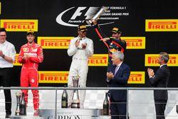 Podium: second place Sebastian Vettel, Ferrari, Race winner Lewis Hamilton, Mercedes AMG F1, third p