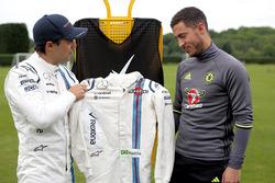Felipe Massa, Williams, avec le joueur du Chelsea FC Eden Hazard