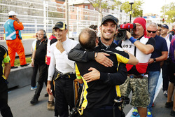 Jean-Eric Vergne, Techeetah, celebrates with his team after winning the race