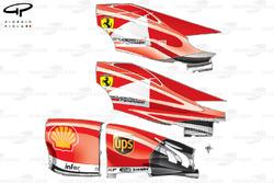 Capots moteurs et pontons de la Ferrari F138