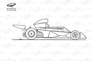 Vue latérale de la Tyrrell 005