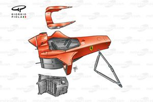 Ferrari F2001 chassis, driver headrest, single piece lower front wishbone and internal sidepod housing for cooling efficiency