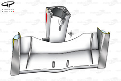 Vue de dessous de l'aileron avant et nez BAR 003