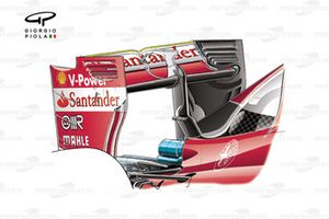 Ferrari SF16-H rear wing with serrated gurney trim (highlighted in yellow)
