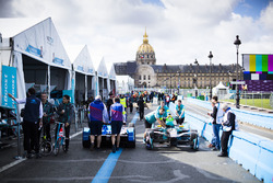 Cars of Amlin Andretti Formula E Team and NextEV in the pitlane