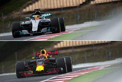 Red Bull Racing RB13 en Mercedes AMG F1 W08 vergelijking