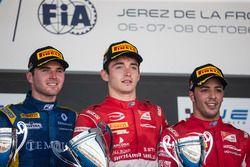 Oliver Rowland, DAMS, Charles Leclerc, PREMA Powerteam, Antonio Fuoco, PREMA Powerteam en el podio