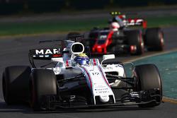Felipe Massa, Williams FW40, leads Kevin Magnussen, Haas F1 Team VF-17