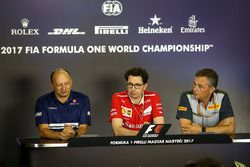 Frederic Vasseur, Sauber Team Principal, Mattia Binotto, Ferrari Chief Technical Officer and Mario I