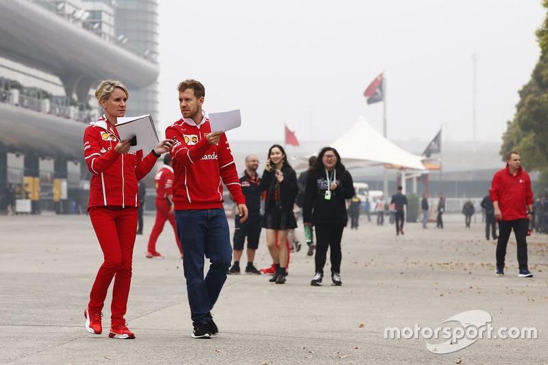 Sebastian Vettel, Ferrari, in the paddock