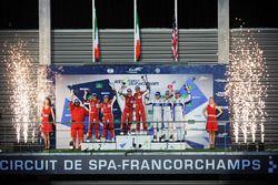 Podio LMGTE Pro: al primo posto Davide Rigon, Sam Bird, AF Corse, al secondo posto James Calado, Ale
