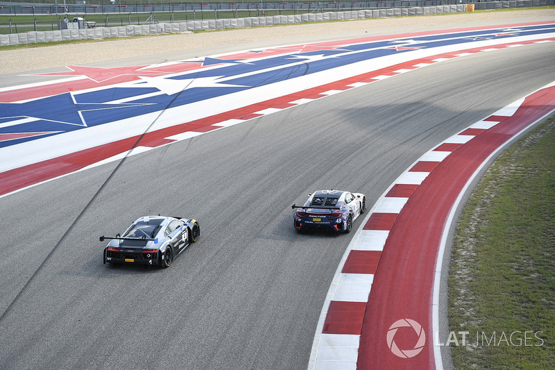 #4 Magnus Racing Audi R8 LMS: Pierre Kaffer, Spencer Pumpelly, #43 RealTime Racing Acura NSX GT3: Ry