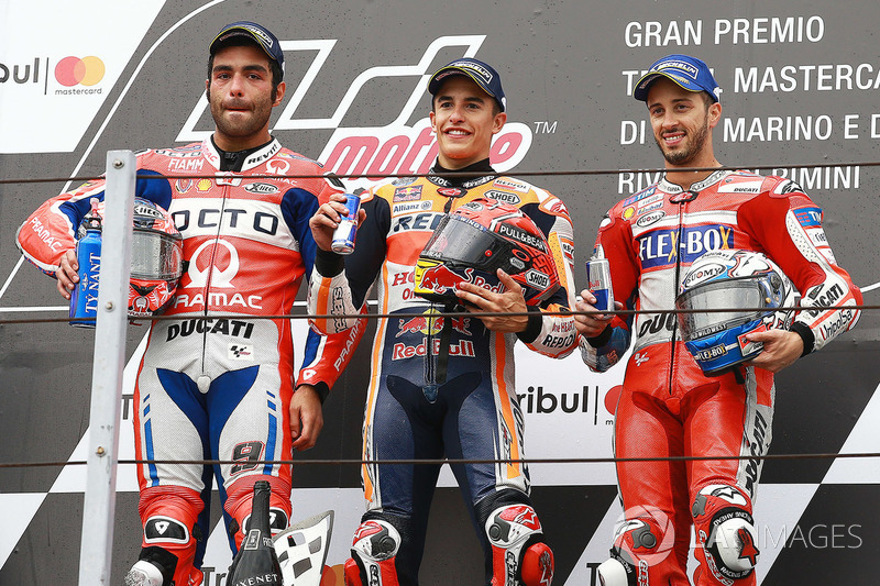 Podium: Race winner Marc Marquez, Repsol Honda Team, second place Danilo Petrucci, Pramac Racing, third place Andrea Dovizioso, Ducati Team