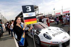 Grid girl of #911 Herberth Motorsport Porsche 991 GT3 R: Daniel Allemann, Ralf Bohn, Robert Renauer,