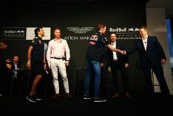 Daniel Ricciardo and Daniil Kvyat, Red Bull Racing with Ian Minards, Director of Product Development Aston Martin, Marek Reichman, Chief Creative Officer and Design Director Aston Martin, Adrian Newey, Chief Technical Officer Red Bull Racing, Christian Horner, Red Bull Racing Team Principal and Andy Palmer, Chief Executive Officer Aston Martin