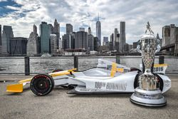 The 100th Indy 500 IndyCar with the BorgWarner Trophy