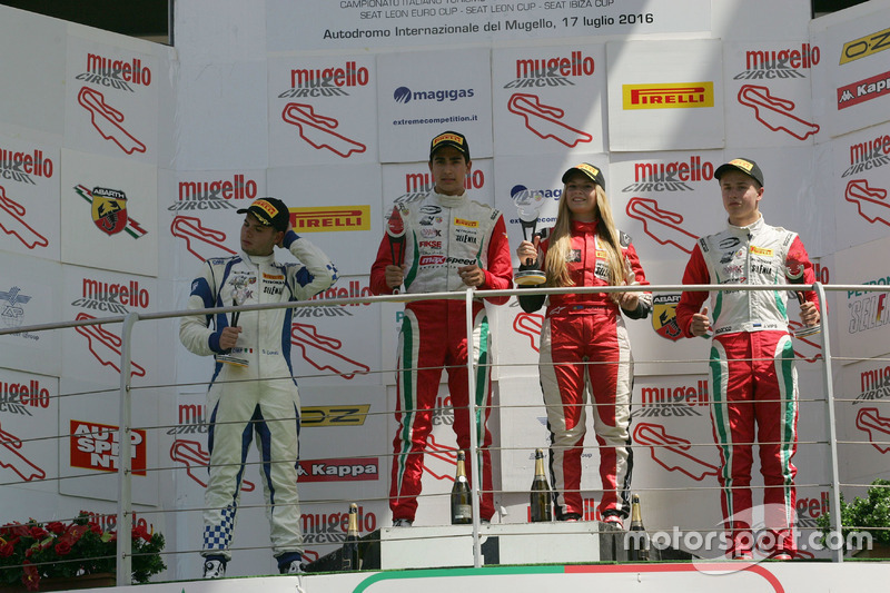 Podium Rookie: second place Simone Cunati, Vincenzo Sospiri Racing, winner Juan Manuel Correa, Prema Powerteam, third place Juri Vips, Prema Powerteam and Woman Trophy Fabienne Wohlwend, Aragon Racing