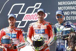 Podium: 2. Andrea Dovizioso, Ducati Team; 1. Andrea Iannone, Ducati Team; 3. Jorge Lorenzo, Yamaha F