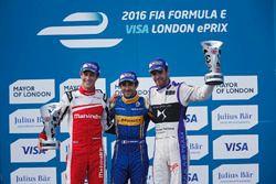 Podium: Sieger Nicolas Prost, Renault e.Dams; 2. Bruno Senna, Mahindra Racing; 3. Jean-Eric Vergne,