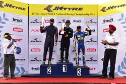 Podium: race winner Krishnaraaj Mahadik, second place Anindith Reddy, third place Akash Gowda