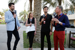 Steve Jones, présentateur Channel 4, Susie Wolff, expert Channel 4, Mark Webber, pilote Porsche en WEC et présentateur Channel 4 et David Coulthard, conseiller Red Bull Racing et Scuderia Toro Rosso et commentateur Channel 4