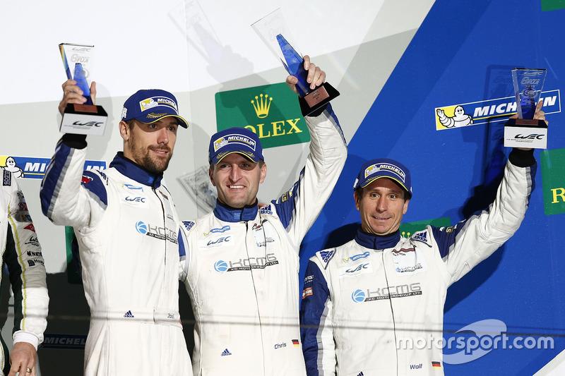 LM GTE Am podium: third place #78 KCMG Porsche 911 RSR: Christian Ried, Wolf Henzler, Joël Camathias