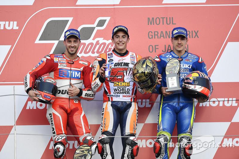Le podium du GP du Japon 2016 : Marc Márquez, Andrea Dovizioso, Maverick Viñales