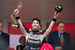 Sergio Pérez, Sahara Force India F1, fête sa troisième place sur le podium