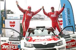 Winners Gaurav Gill and Glenn MacNeall, Skoda Fabia R5, Team MRF