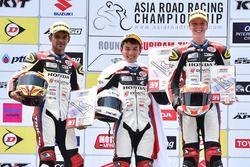 Podium race 2 Honda Asia Dream Cup: winner Hiroki Nakamura, second place Hari Krishnan, third place Broc Pearson