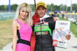 Underbone 130cc race 1 winner: Wahyu Aji Trilaksana with a lovely grid girl