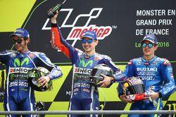 Podio: ganador Jorge Lorenzo, Yamaha Factory Racing, segundo Valentino Rossi, Yamaha Factory Racing,