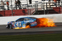 Aric Almirola, Richard Petty Motorsports Ford on fire