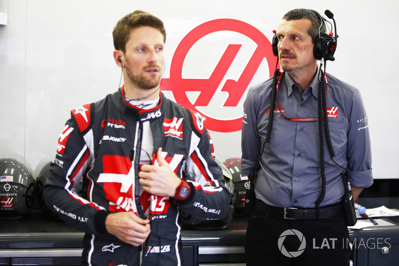 Romain Grosjean, Haas F1 Team, and Guenther Steiner, Team Principal, Haas F1