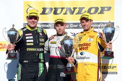 Podio, Senna Proctor, Power Maxed Racing Vauxhall Astra, Dan Lloyd, BTC Norlin Honda Civic and Tom Chilton, Motorbase Performance Ford Focus